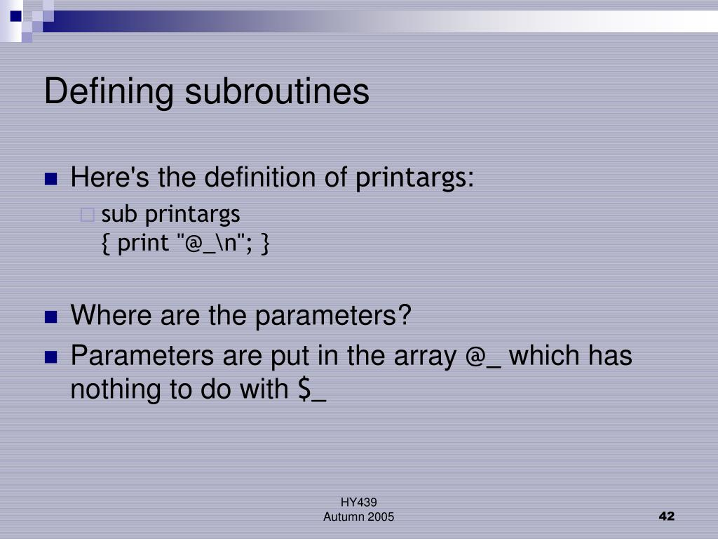 Defining subroutines