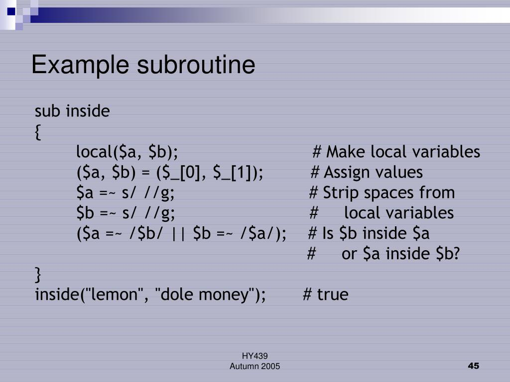 Example subroutine