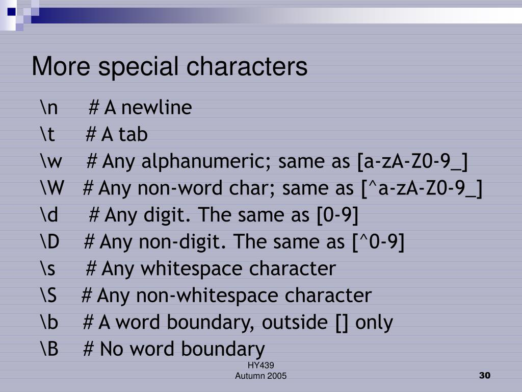 More special characters