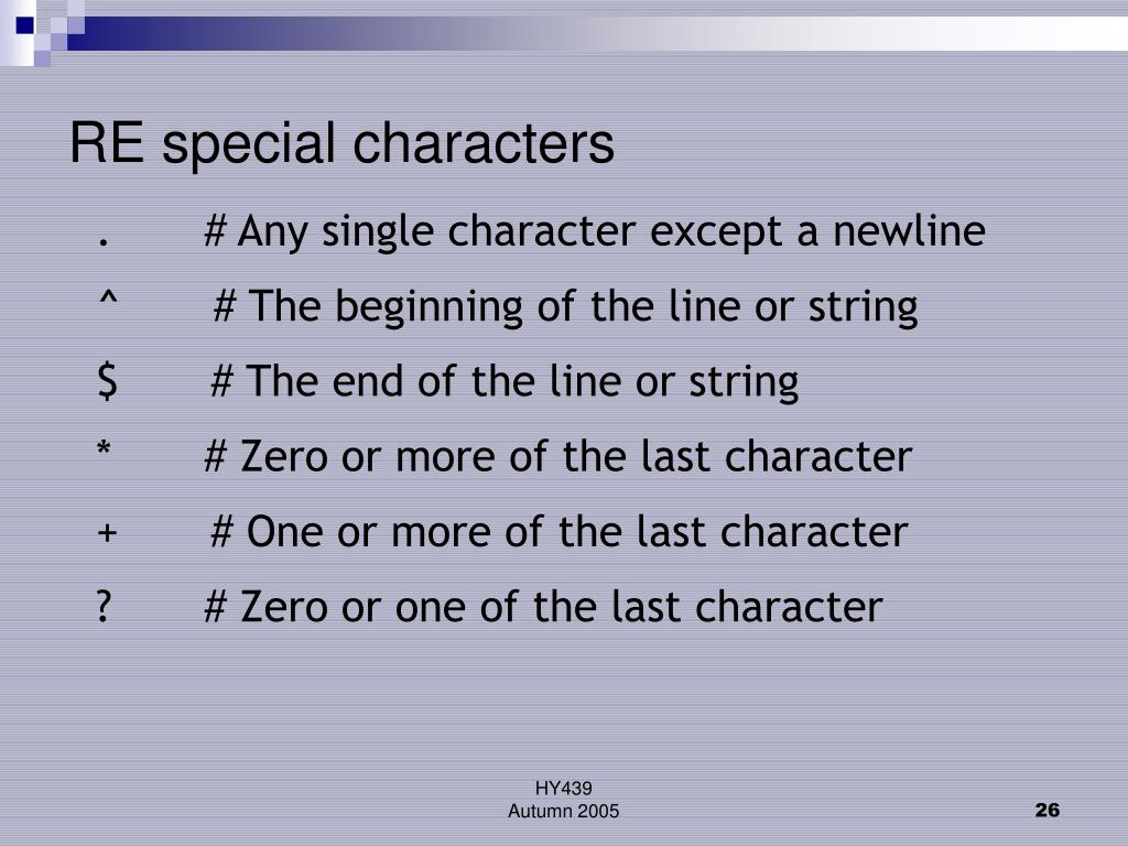 RE special characters