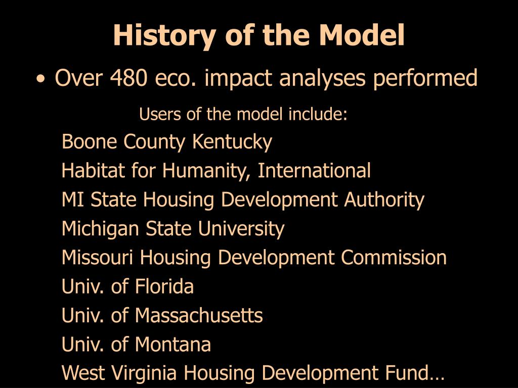 History of the Model