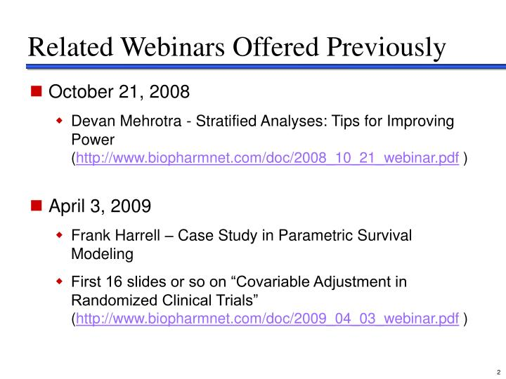 Related webinars offered previously