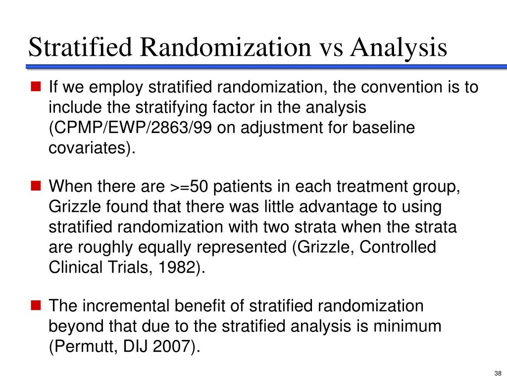 Stratified Randomization vs Analysis