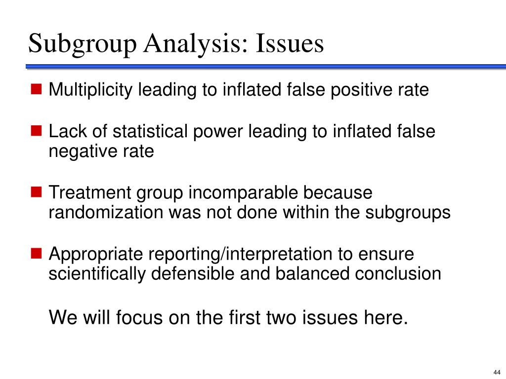 Subgroup Analysis: Issues