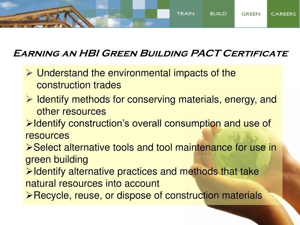 Earning an HBI Green Building PACT Certificate