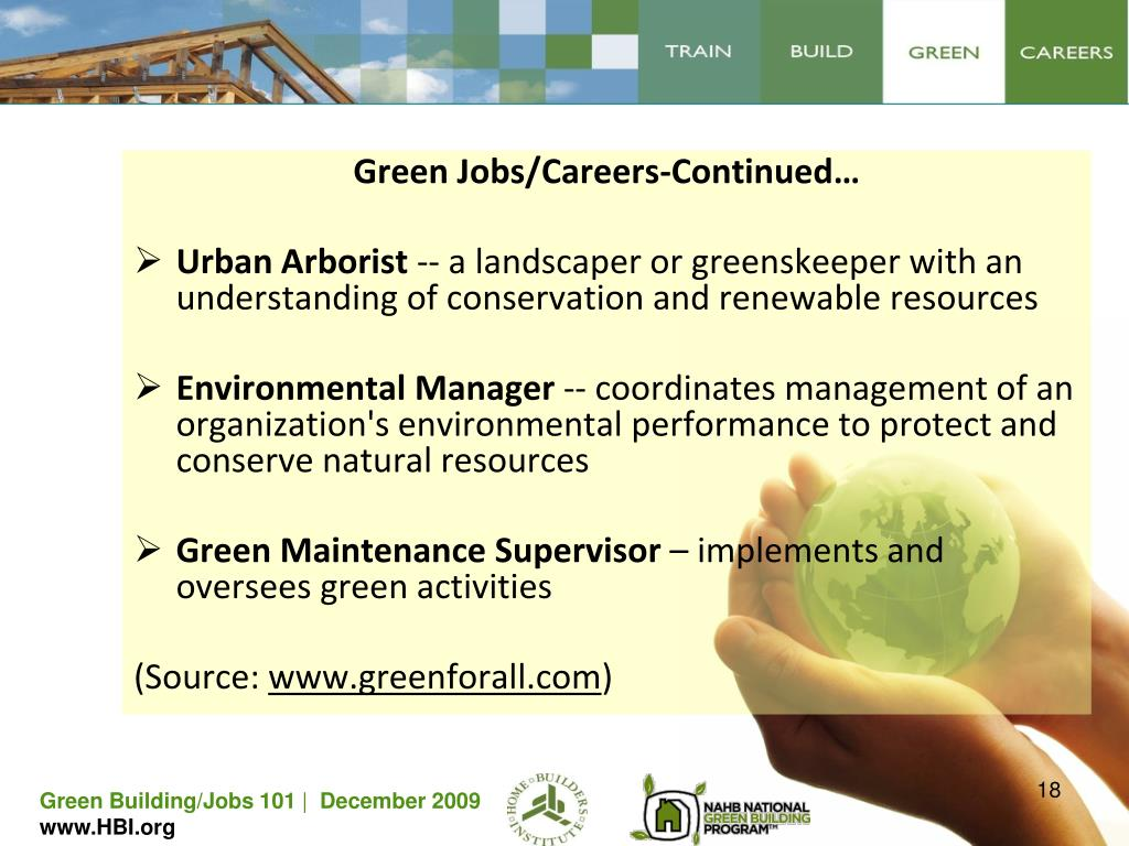 Green Jobs/Careers-Continued…