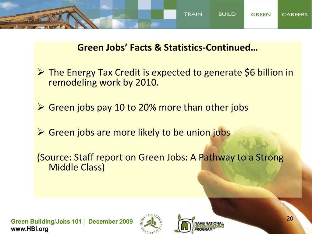 Green Jobs' Facts & Statistics-Continued…