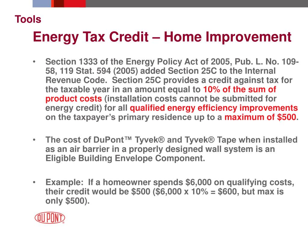 Energy Tax Credit – Home Improvement