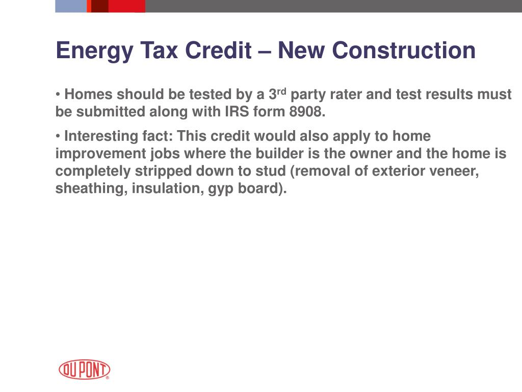 Energy Tax Credit – New Construction