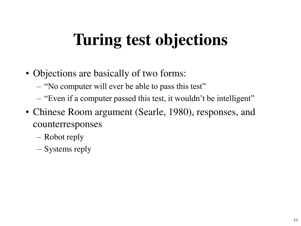 Turing test objections