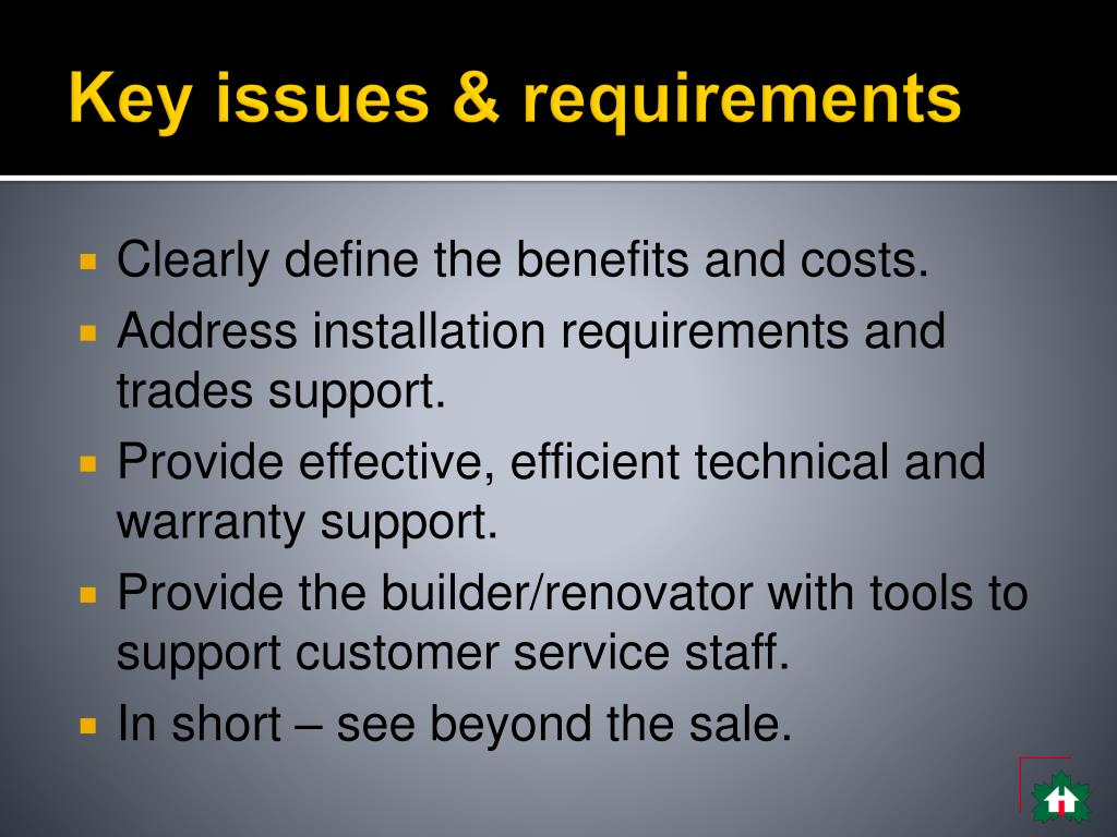 Key issues & requirements