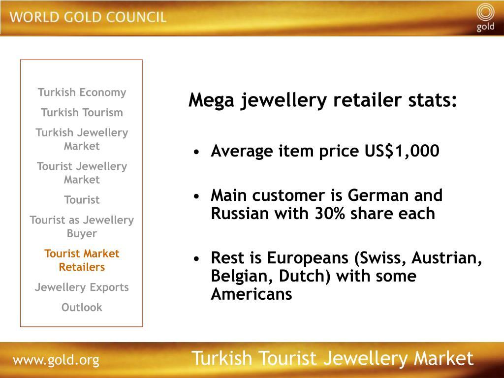Mega jewellery retailer stats: