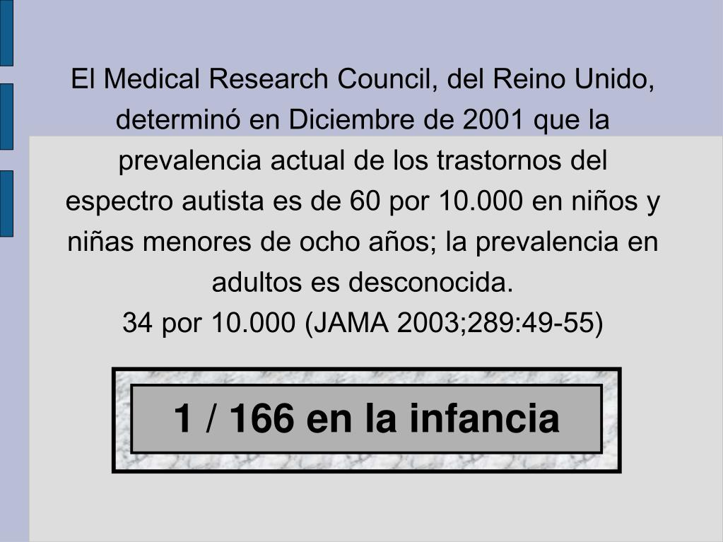 El Medical Research Council, del Reino Unido, determinó en Diciembre de 2001 que la prevalencia actual de los trastornos del espectro autista es de