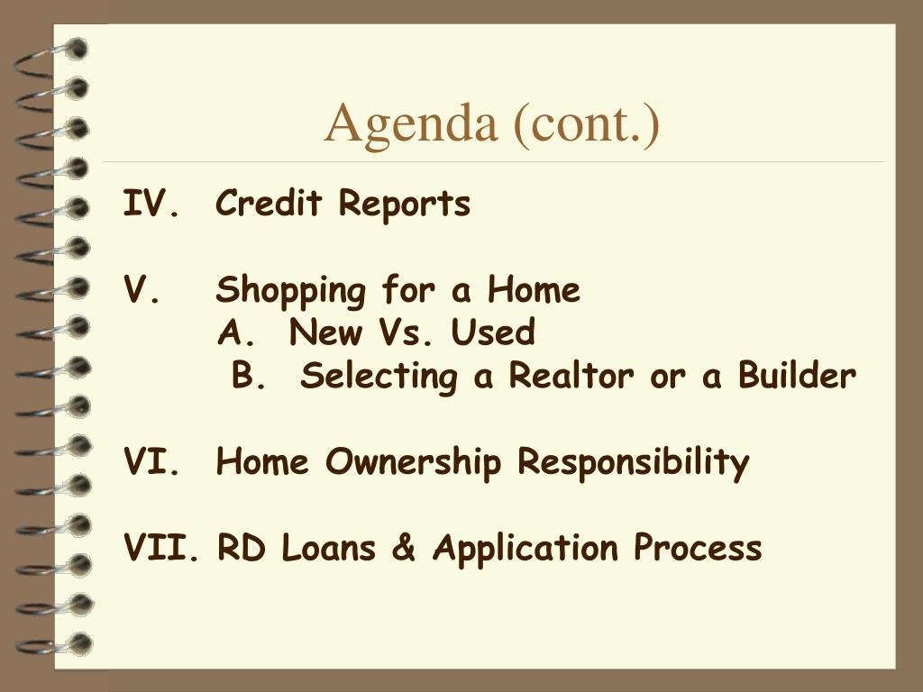 Agenda (cont.)