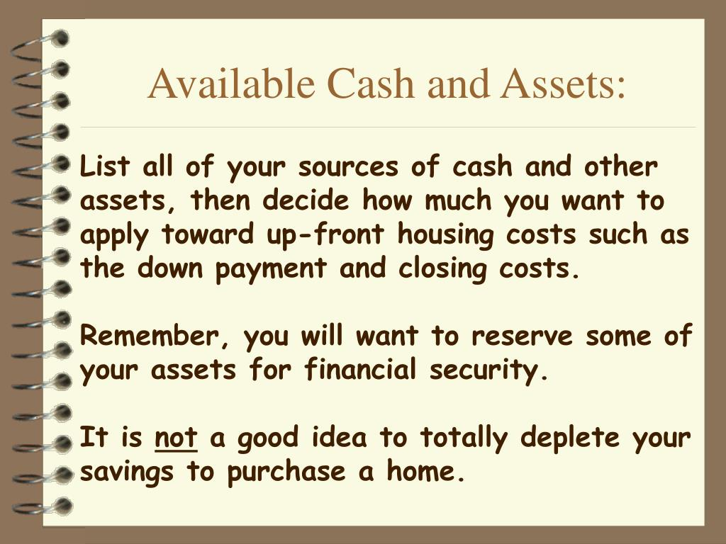 Available Cash and Assets: