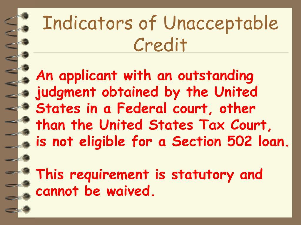 Indicators of Unacceptable Credit