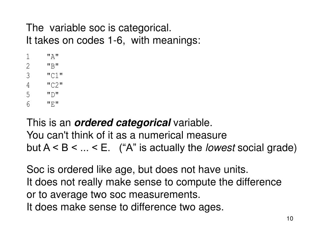 The  variable soc is categorical.