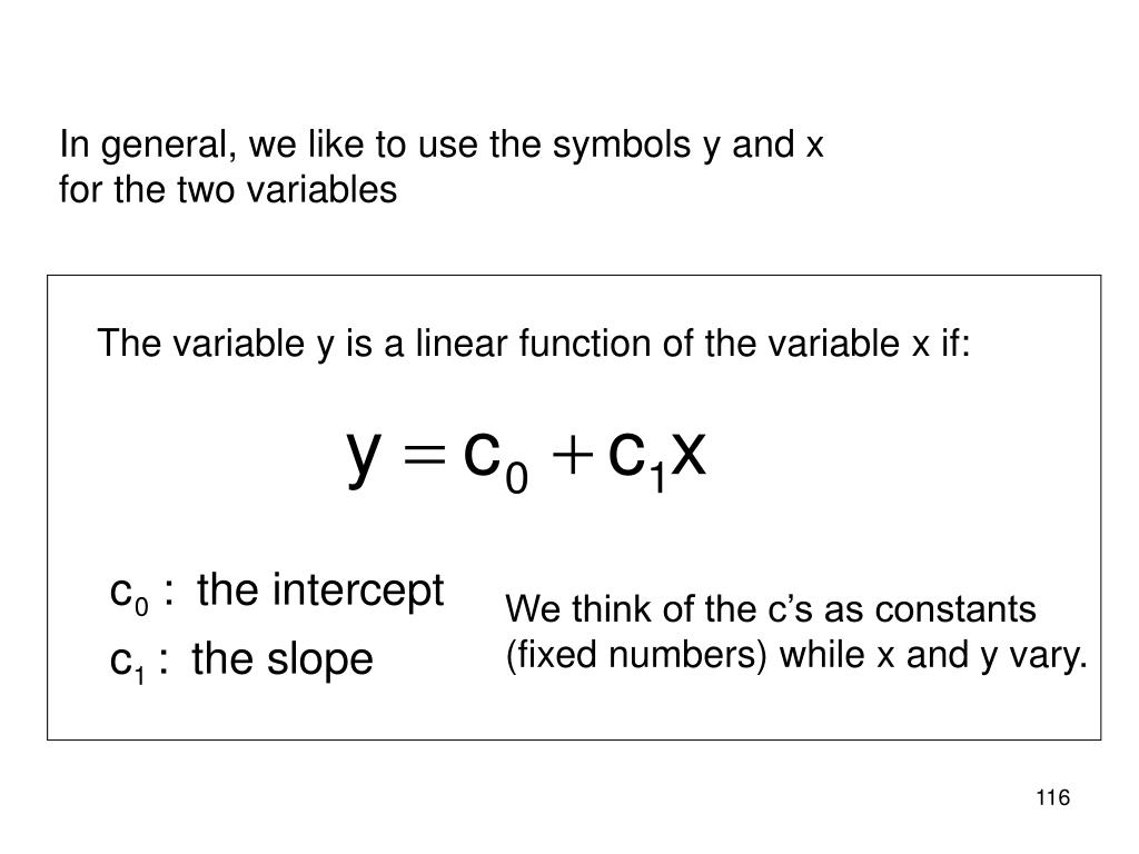 In general, we like to use the symbols y and x