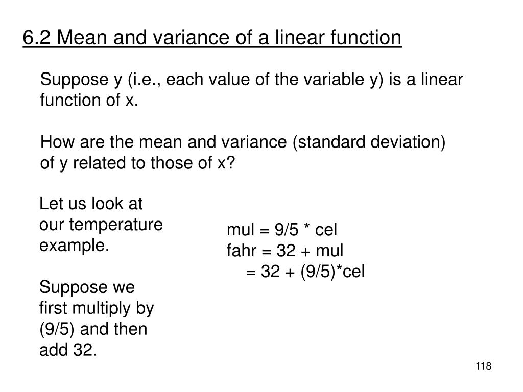 6.2 Mean and variance of a linear function