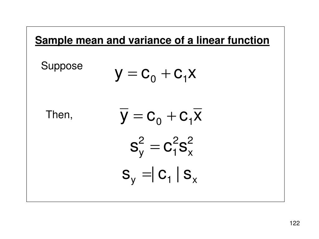 Sample mean and variance of a linear function