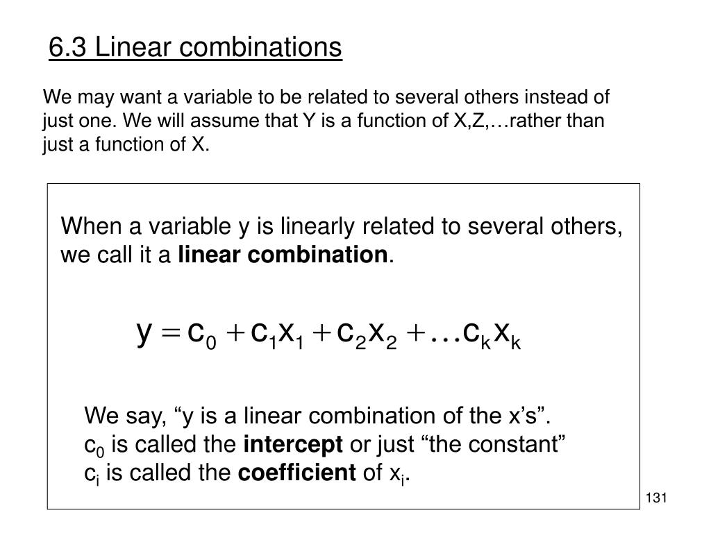 6.3 Linear combinations
