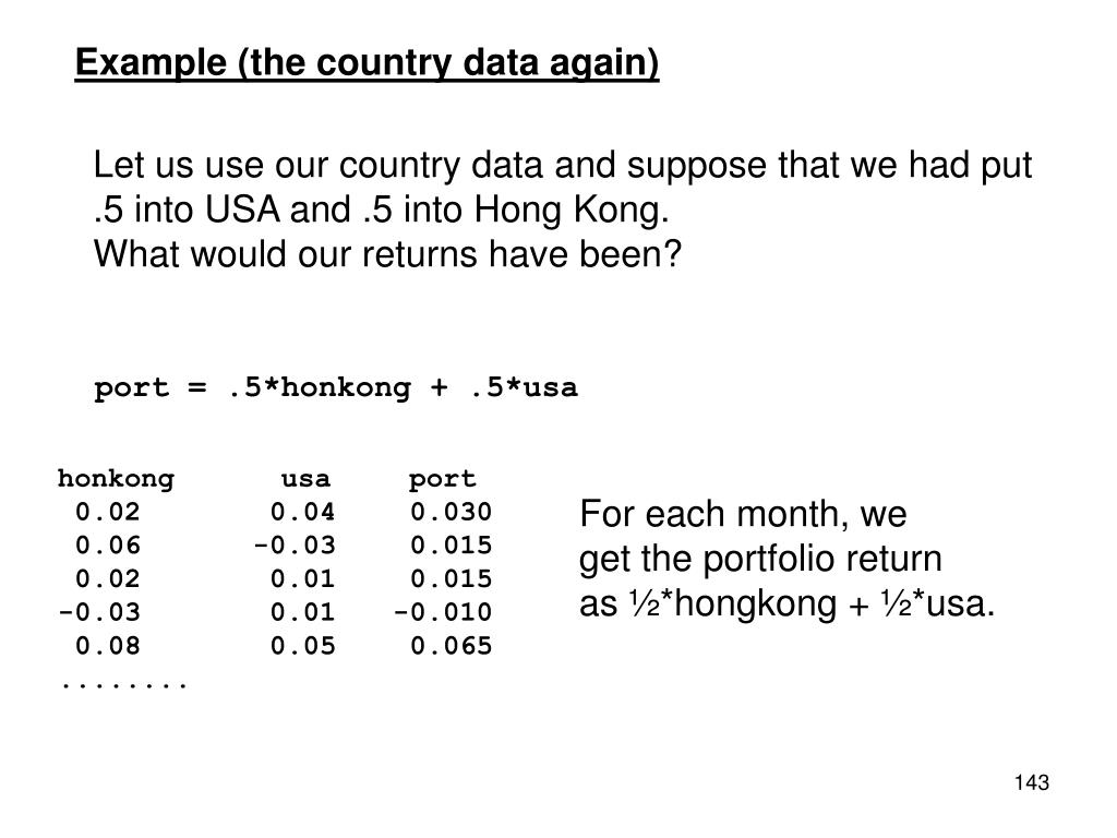 Example (the country data again)