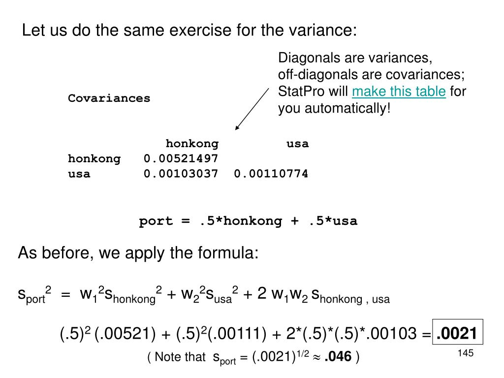 Let us do the same exercise for the variance: