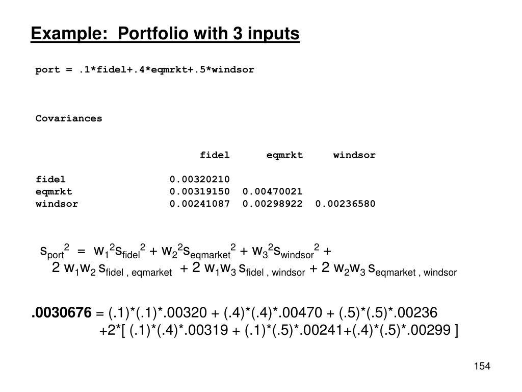 Example:  Portfolio with 3 inputs