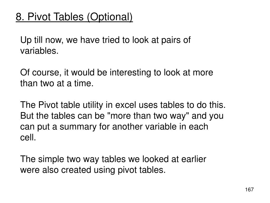 8. Pivot Tables (Optional)