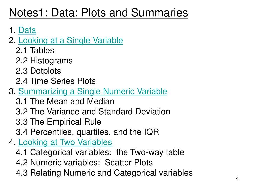 Notes1: Data: Plots and Summaries