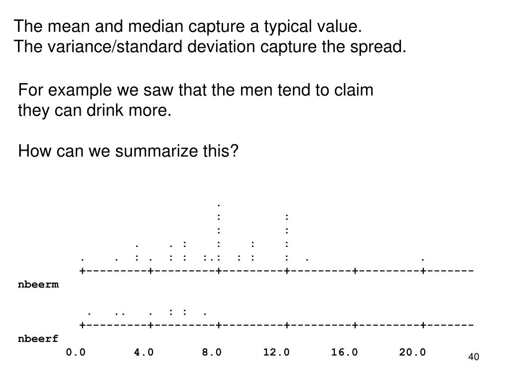 The mean and median capture a typical value.