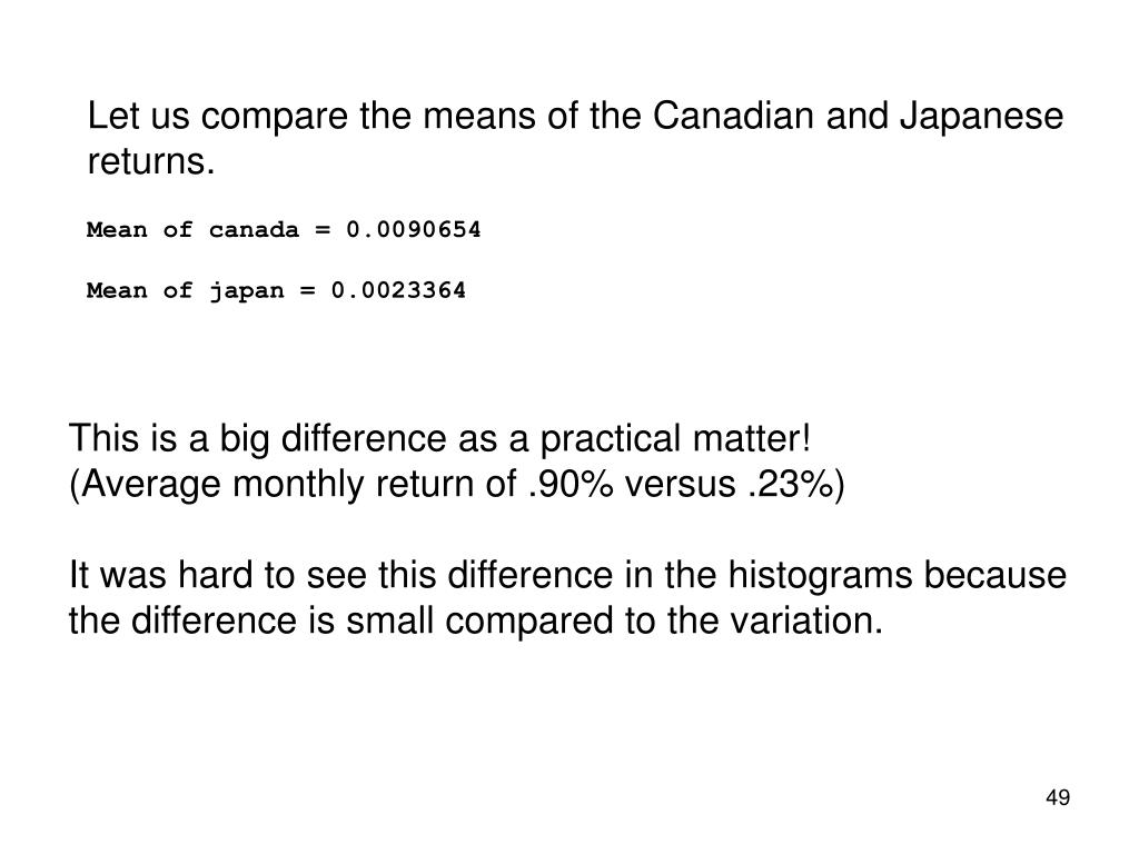 Let us compare the means of the Canadian and Japanese