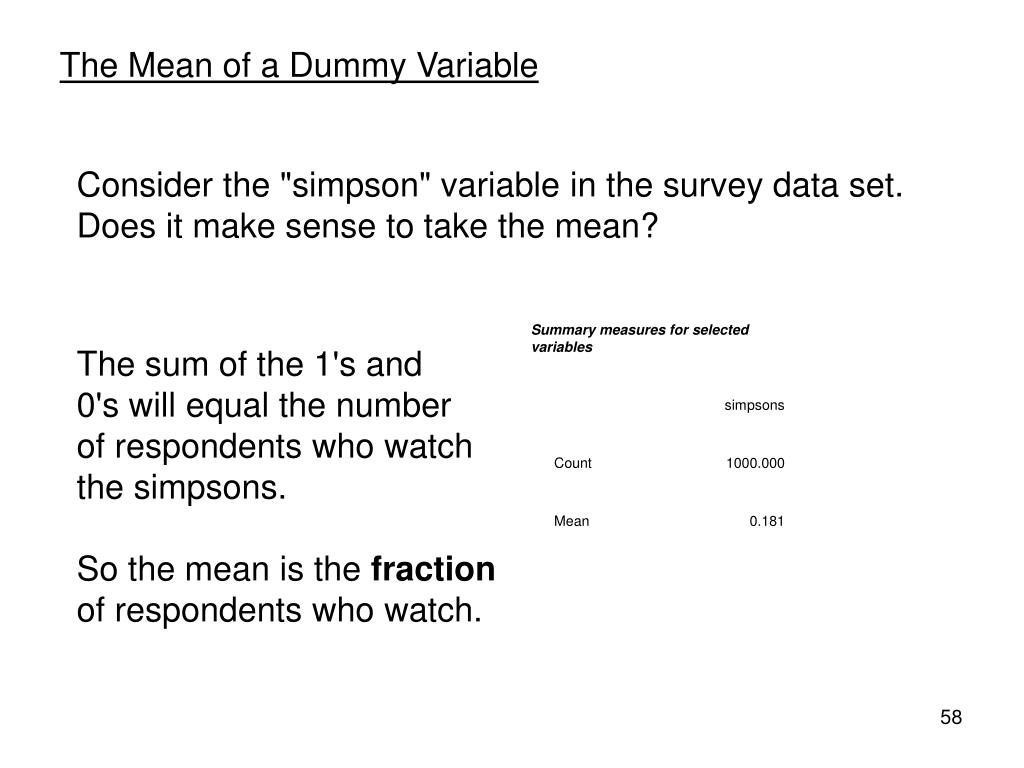 The Mean of a Dummy Variable