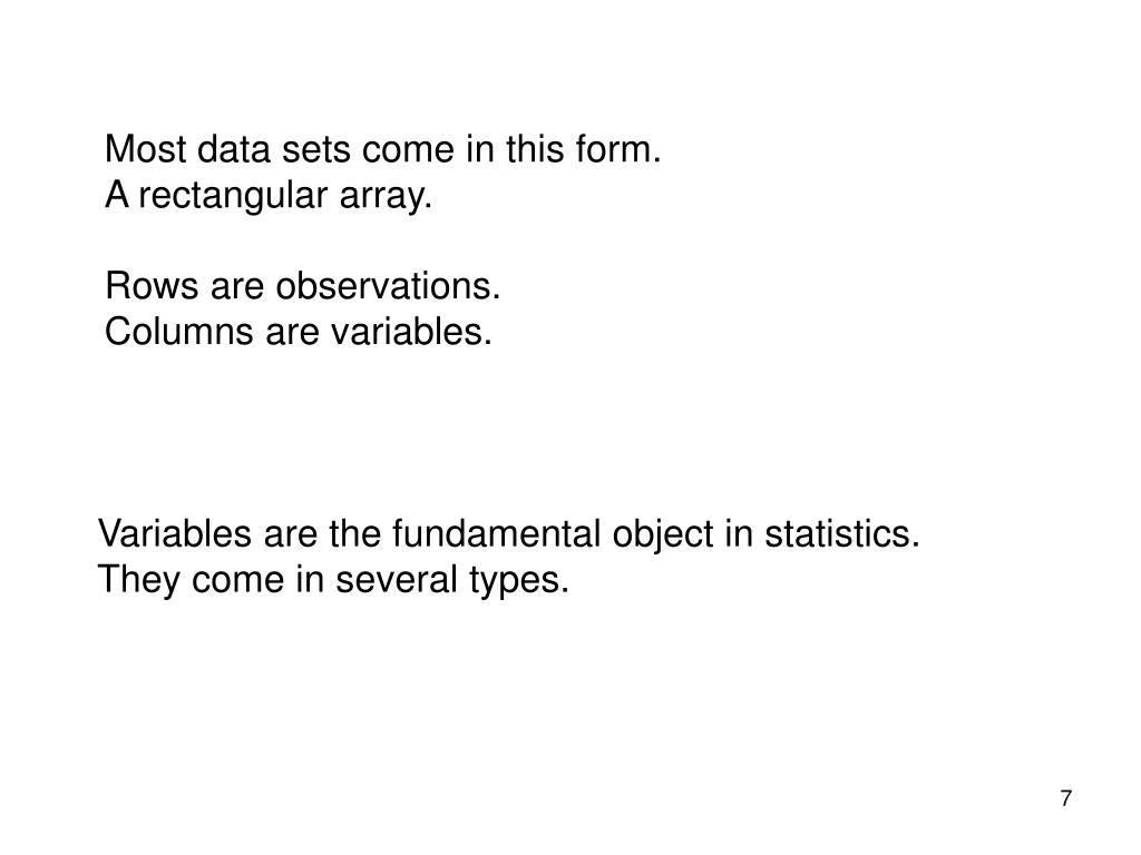 Most data sets come in this form.