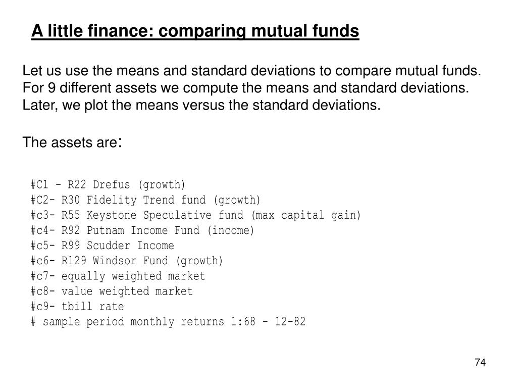 A little finance: comparing mutual funds