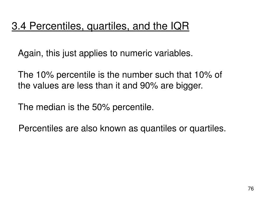 3.4 Percentiles, quartiles, and the IQR