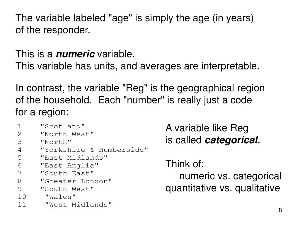 """The variable labeled """"age"""" is simply the age (in years)"""
