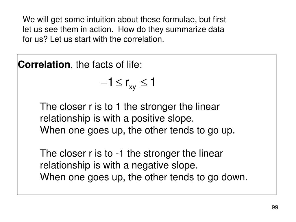 We will get some intuition about these formulae, but first