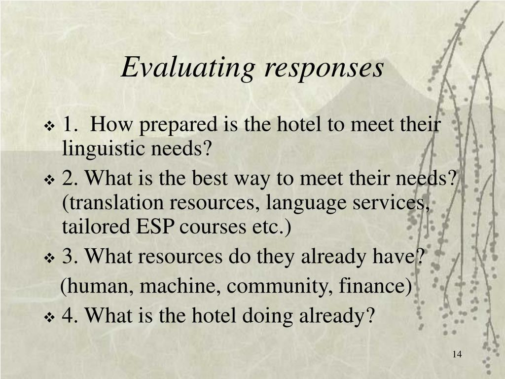 Evaluating responses
