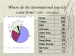 where do the international tourists come from 2003 2005 data