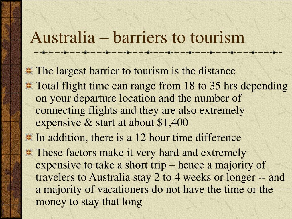 Australia – barriers to tourism