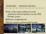 australia tourism factors