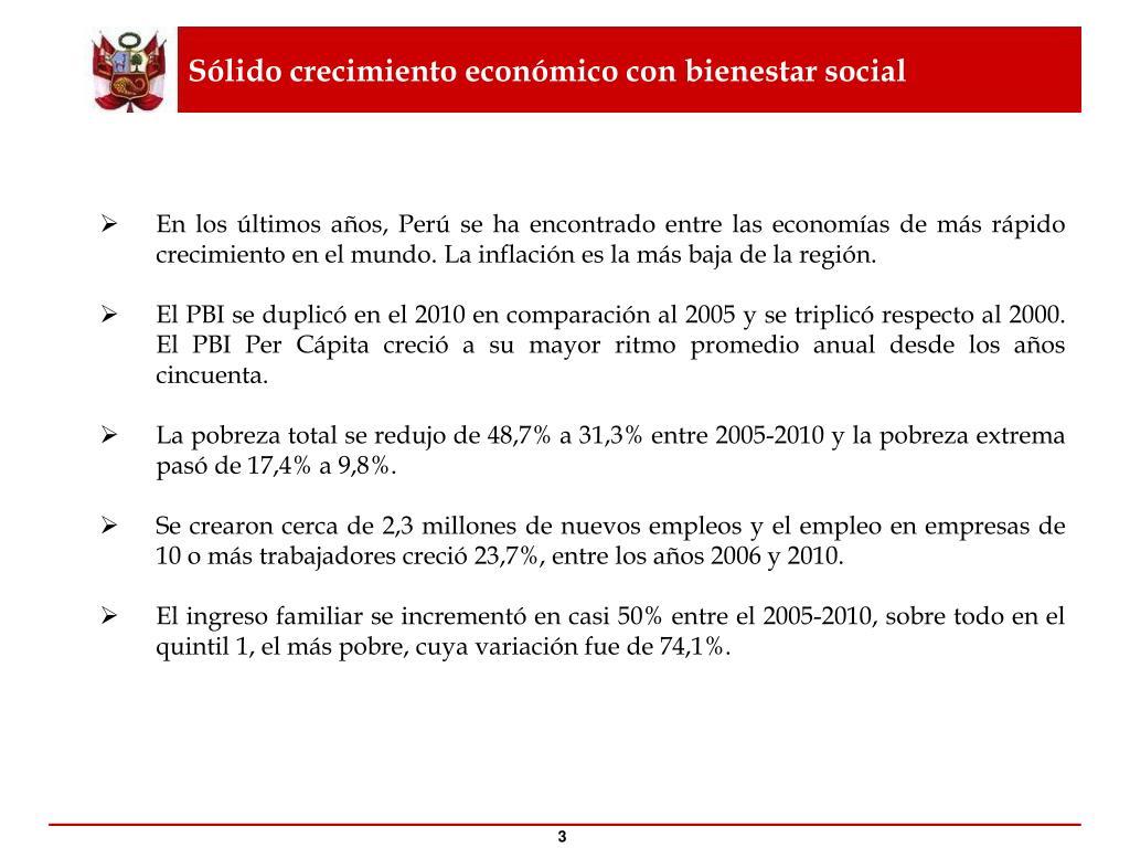 Sólido crecimiento económico con bienestar social