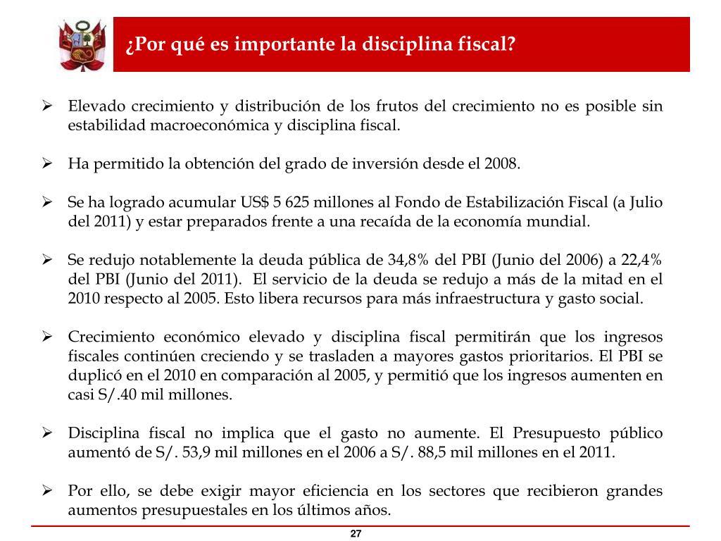 ¿Por qué es importante la disciplina fiscal?