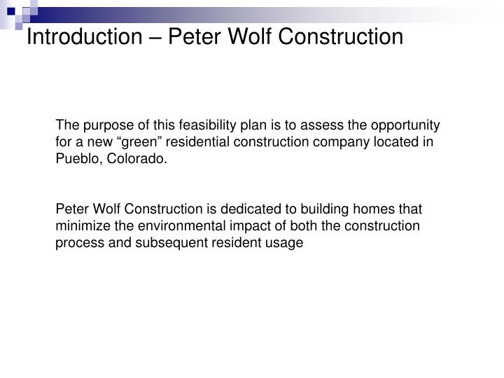 Introduction peter wolf construction