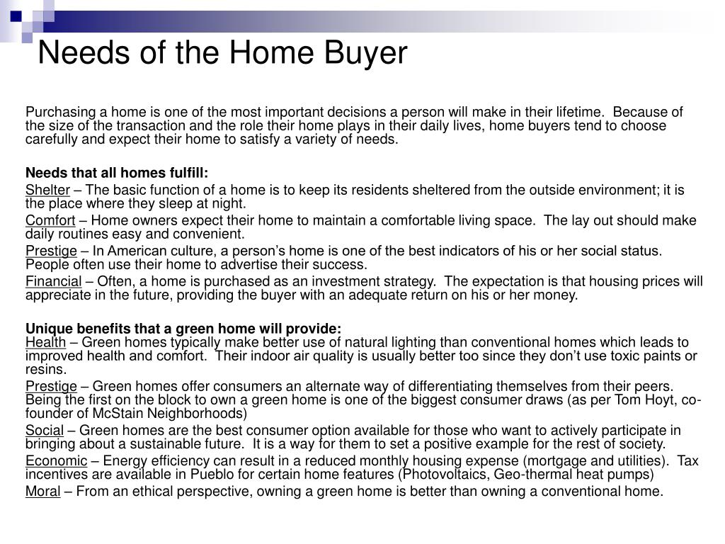 Needs of the Home Buyer