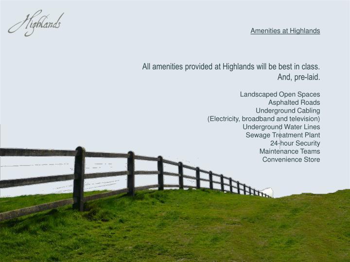 Amenities at Highlands
