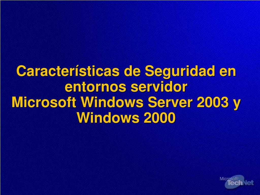 Características de Seguridad en entornos servidor