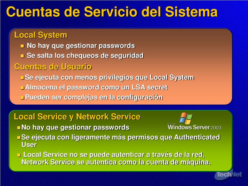 Cuentas de Servicio del Sistema
