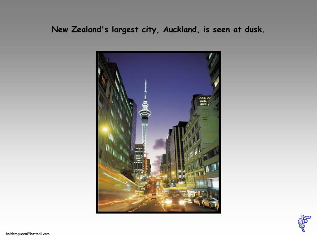 New Zealand's largest city, Auckland, is seen at dusk.